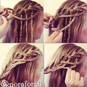 плетение косы водопад пошагово