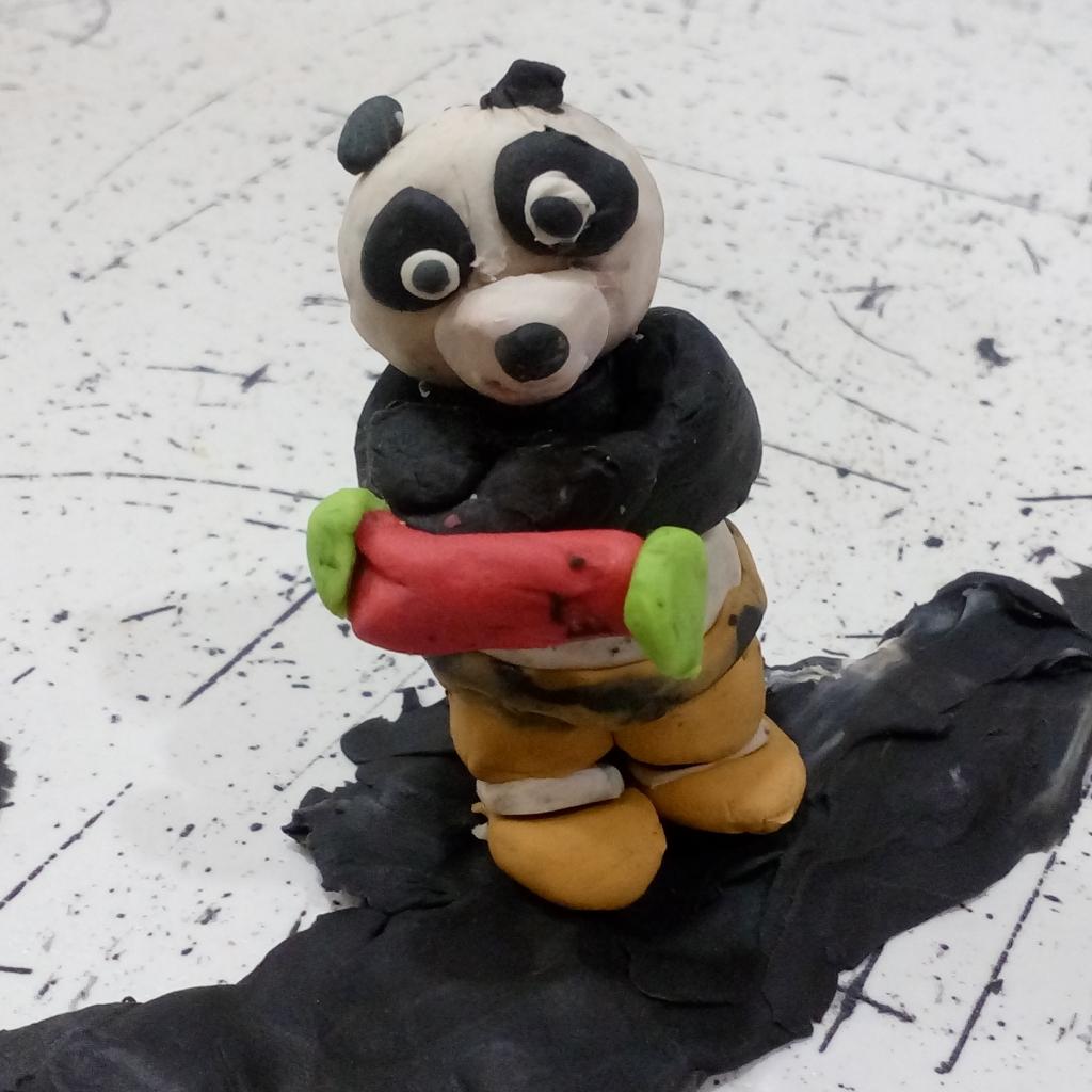 панда +из пластилина пошагово