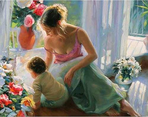мама с ребенком картина