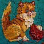 картины из пластилина кот
