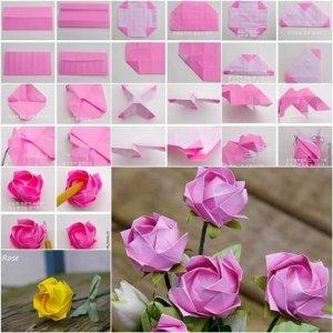 роза оригами схема