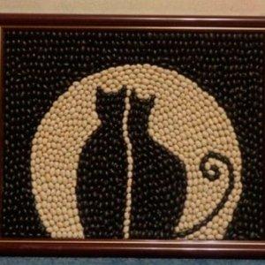 картина коты из кофе