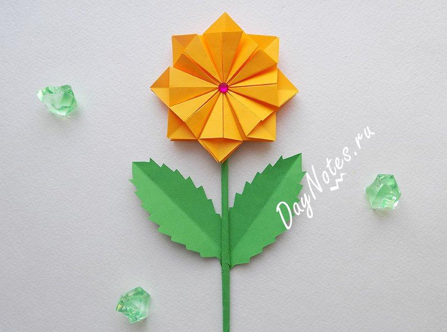 оригами цветок из бумаги схема