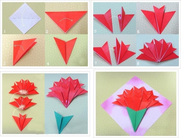 Смешные про, цветы оригами для открытки поэтапно