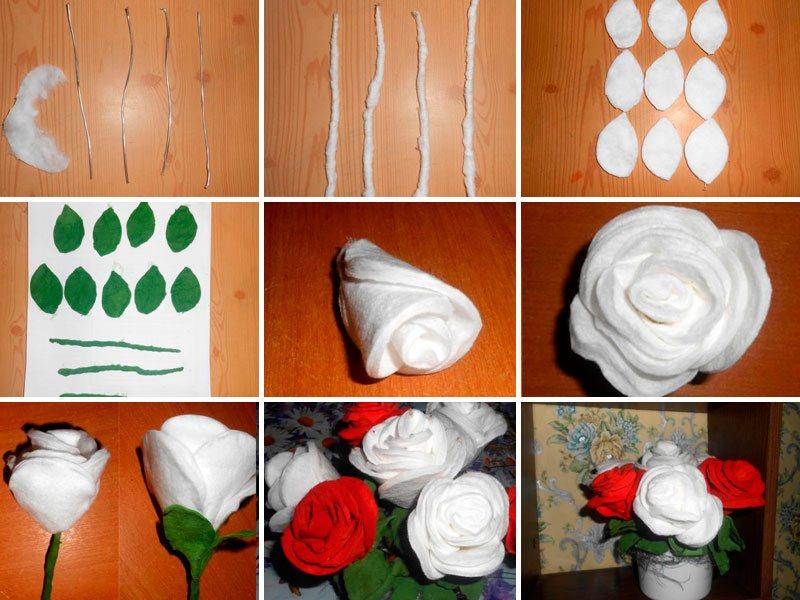 роза на 8 марта из ватных дисков