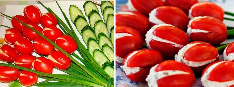 как украсить салат на 8 марта