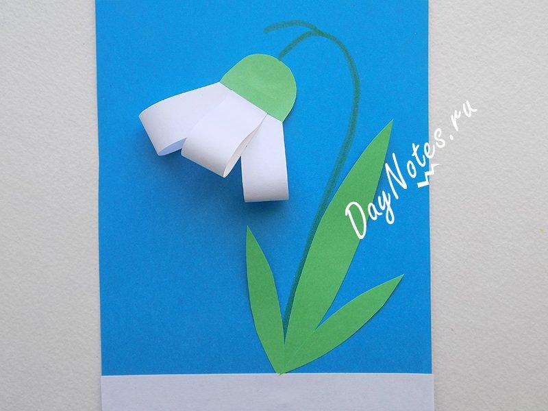открытка подснежники пошагово