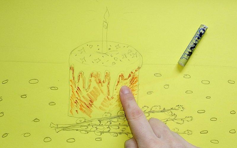 кулич карандашом