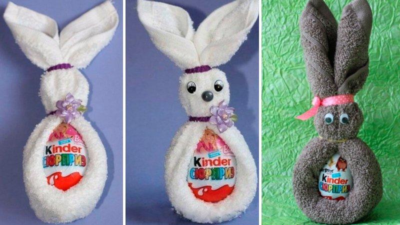кролик из полотенца на пасху
