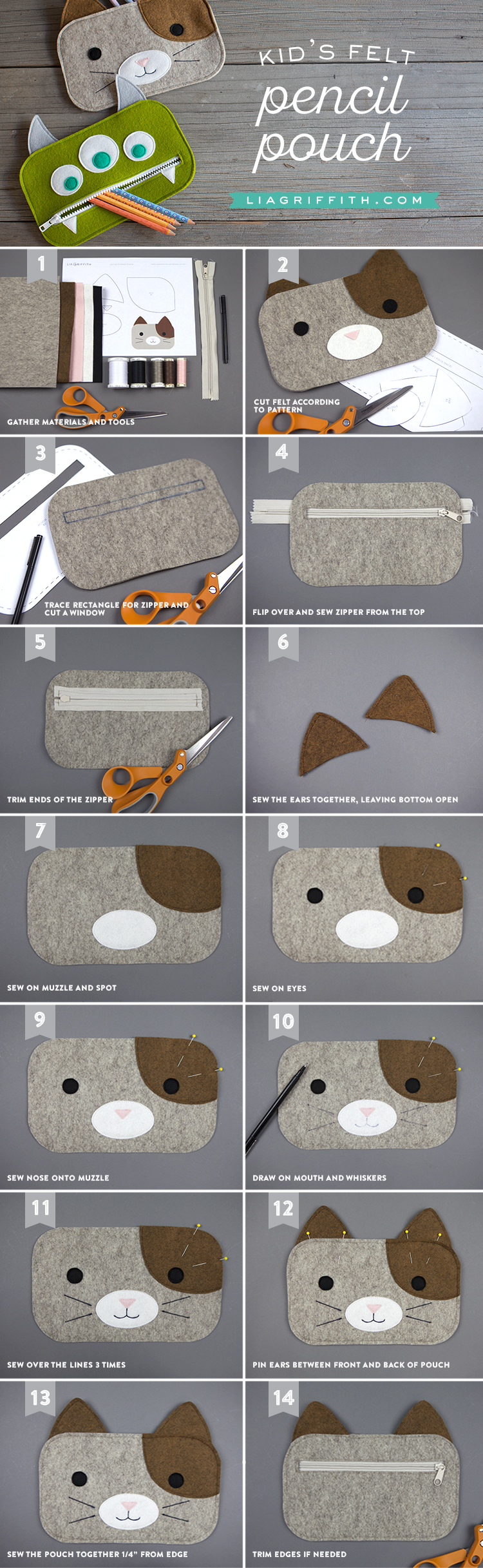 как сшить пенал из фетра