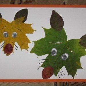 аппликация из листьев волк