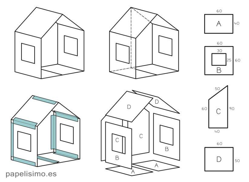 домик из картона чертежи схема