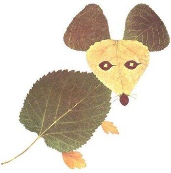 мышонок из листьев
