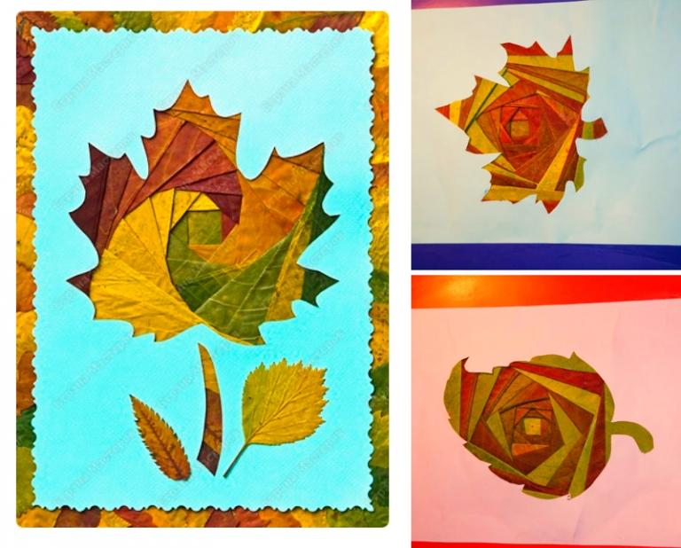 Осенние открытки своими руками из листьев, днем