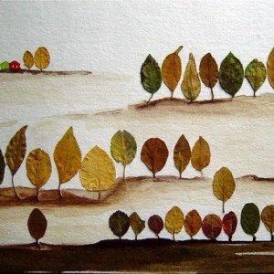 аппликация из листьев лес