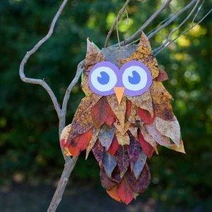 аппликация из листьев сова