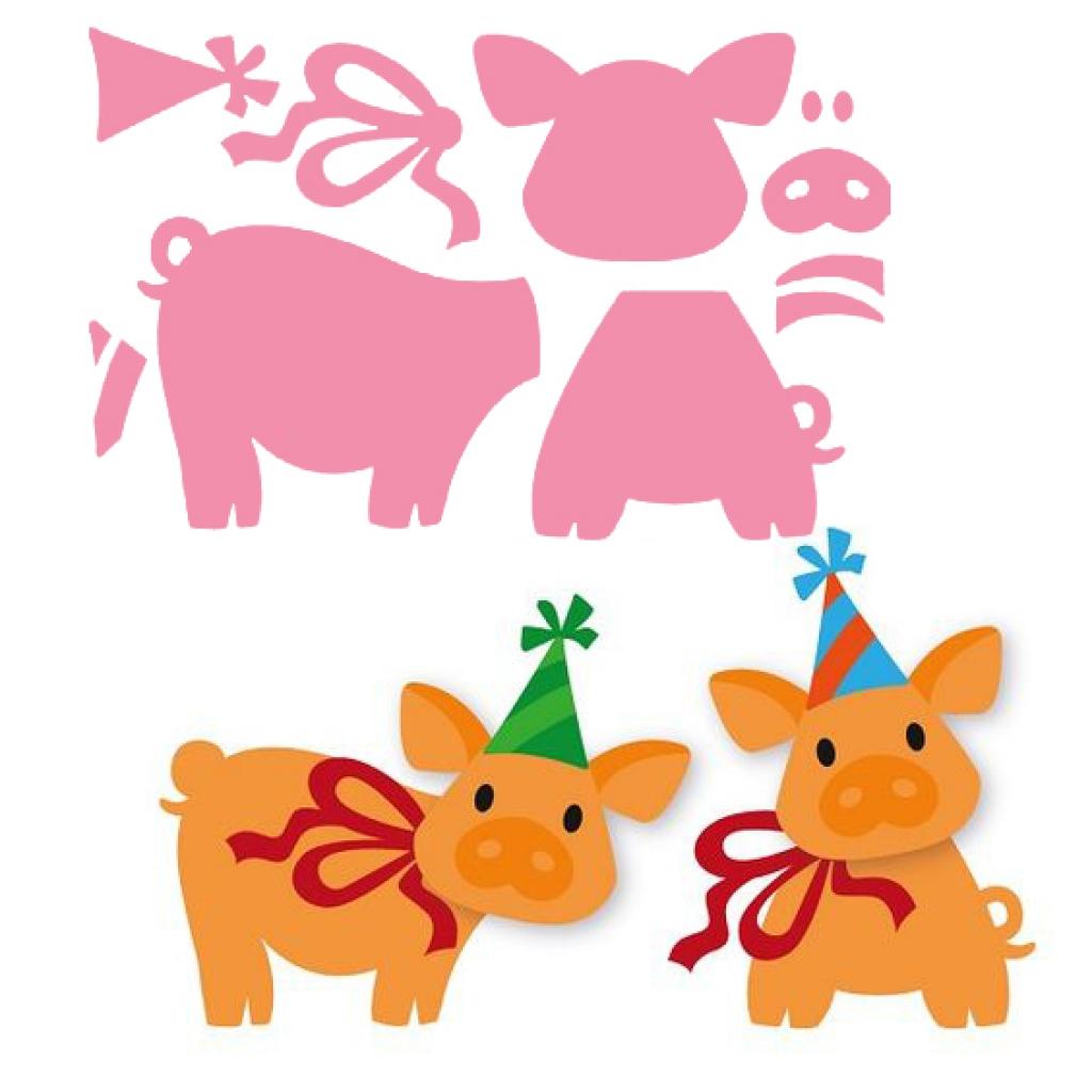 открытка на новый год своими руками из бумаги с детьми свинья одной
