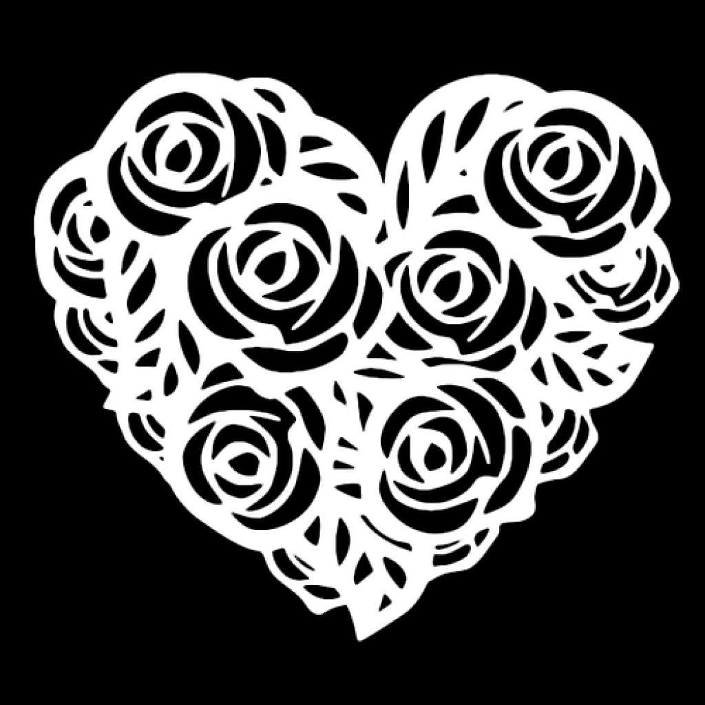 Трафарет роза для вырезания из бумаги шаблоны, надписями