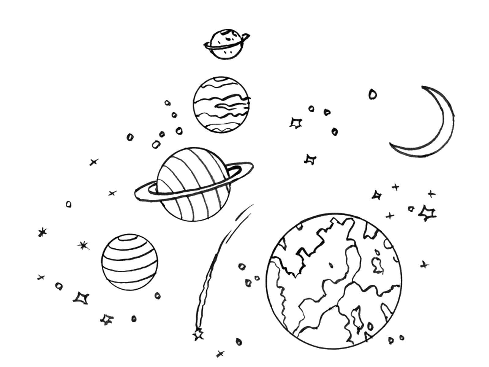 Картинки с планетами солнечной системы детям раскраска