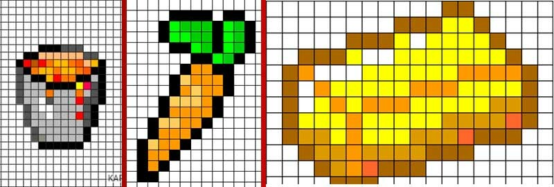 картинки из майнкрафта еда по клеточкам стандартный номер