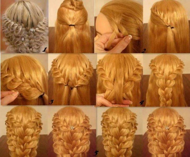 Плетение волос на средние волосы фото пошагово